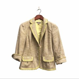 Anne Taylor Cropped Tweed Blazer with Fringes
